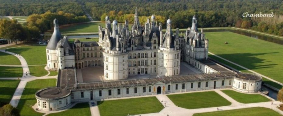 La Bihourderie aerial view of castle grounds of chambord