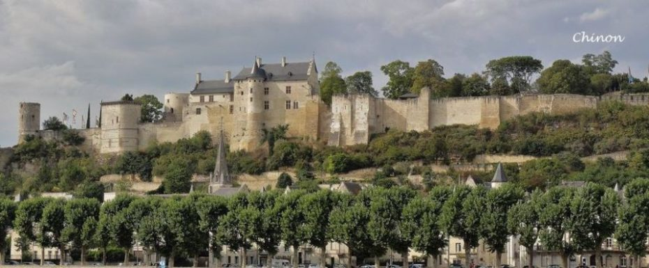 La Bihourderie castle of chinon set high on hill