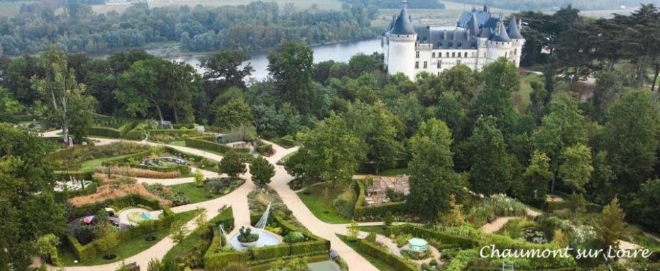 La Bihourderie aerial view of the garden festival of chaumont sur loire castle