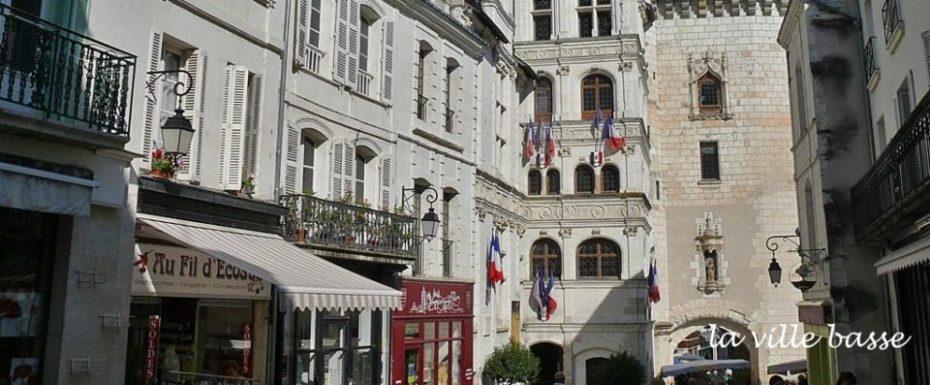 La Bihourderie la ville basse city hall and street in Loches Indre et Loire