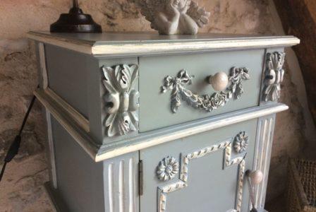 La Bihourderie Tournesols bedside table blue grey patina