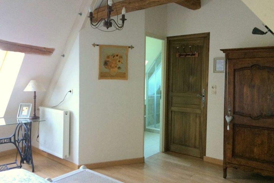 La Bihourderie Entrance to Tournesols room bathroom wardrobe tapestry